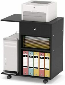 Mobile Printer Stand Lateral File Cabinet Office Work Cart With Storage Drawer