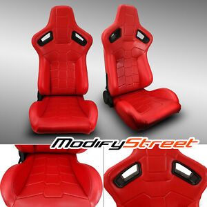 2 X Reclinable Red Pvc Leather Left Right Sport Racing Bucket Seats
