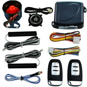 Smart Key Pke Car Alarm Engine Start Stop Push Button Shock Sensor System Kit Us