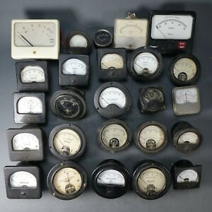 Lot Of 25 Vintage Analog Panel Volt Meters Art Deco Steampunk Laboratory Devices