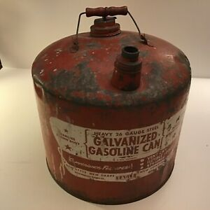 Vintage Red Gas Gasoline Can Eagle 5 Gallon Galvanized Metal Tank No M 5 Patina