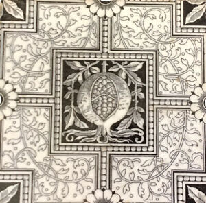 Mintons China Works Stoke On Trent Victorian Antique Tile In Black White
