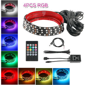 4x Rgb 54 Led Strip Under Car Tube Underglow Underbody System Neon Light Kit New