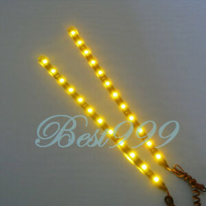 2x Amber Yellow 12 Leds 30cm 11 8 5050 Smd Led Strip Light Waterproof 12v Diy