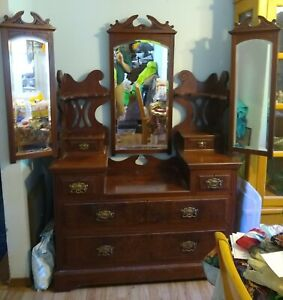 Antique Mahogany Vanity With 3 Mirrors And Shelves Great For Display 1900s