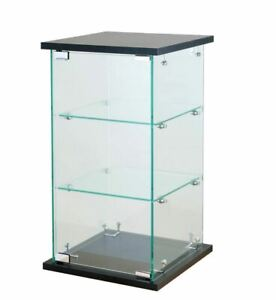 Black Counter Top Showcase Fixture W Lock 24 H X 13 Tower Glass Display 1130