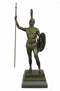 Bronze Sculpture Of Greek Roman Hero With Shield And Spear 19 5 X 8