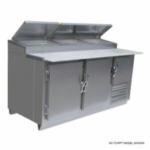 Universal Sc 72 ppt 72 Refrigerated Stainless Steel Pizza Prep Table