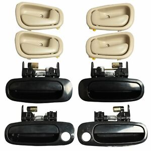 8pcs Black Outside Beige Inside Interior Door Handles For 98 02 Toyota Corolla