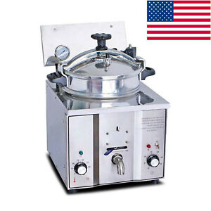 Portable 2400w 8psi 16l Stainless Steel Electric Pressure Fryer Countertop Tools