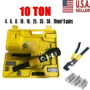 10 Ton Hydraulic Wire Battery Cable Lug Terminal Crimper Crimping Tool New