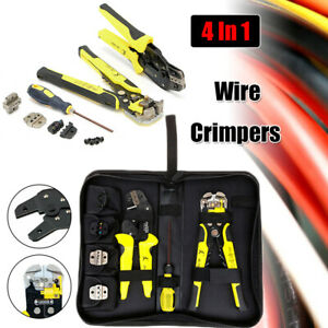 4 In 1 Wire Crimpers Engineering Ratcheting Terminal Cord End Professional Tools