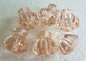 6 Pretty Pink Glass Cabinet Knobs Drawer Pulls N49