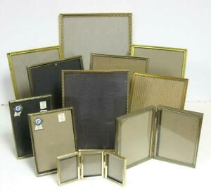 Lot 11 Vintage Gold Tone Assorted Metal Picture Frames Double Triple Easel Backs