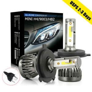 2x H4 Led Headlight 9003 Hb2 Hi low Beam Conversion Kit 2200w 31000lm Bulb 6000k