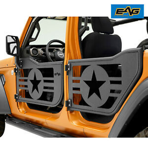 Eag Tubular Military Door Black With Reflection Mirror Fit For 18 20 Jeep Jl 4dr