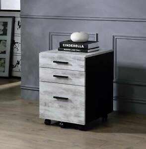 Distressed Wood Filing Cabinet Storage Home Office Organizer Multifunctional New