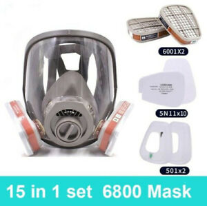 15 In1 6800 Full Face Gas Mask Facepiece Respirator For Painting Spraying