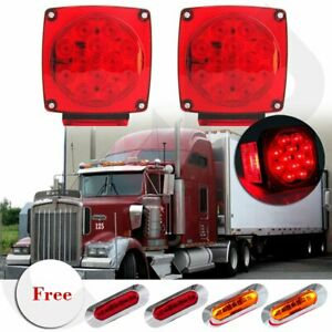 2x Red Led Square Trailer Under 80 Tail Stop Brake Light Free 3 Side Marker