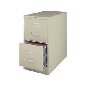 Myofficeinnovations 2 drawer Vertical File Cabinet Locking Letter Putty beige 26