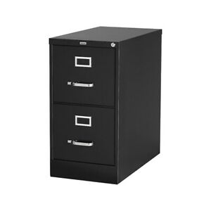 Myofficeinnovations 2 drawer Vertical File Cabinet Locking Letter Black 26 5 d