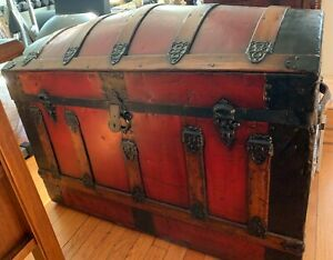 Red Antique 19th C Large Victorian Dome Top Steamer Trunk W Tray