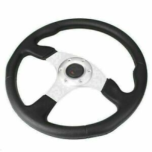 1pc 14 Universal Car Steering Wheel With W Horn Button Racing Silver Tube