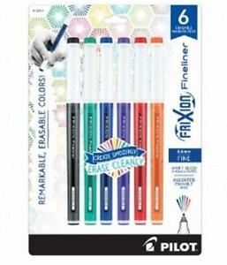 Pilot Frixion Fineliner Erasable Marker Pen Fine Point Assorted Colors 6 Count