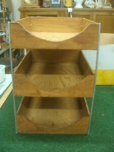 Vintage Three Tier Wood Desk Tray Organizer Office 1940s Files Hedges