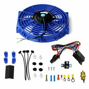 10 Blue Electric Radiator Cooling Fan W Thermostat Relay Mounting Kits Set
