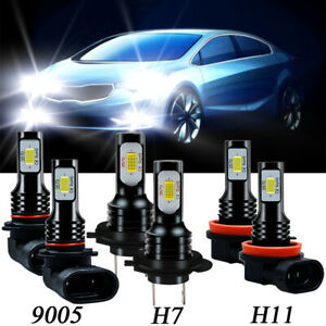 For Kia Forte 2017 2018 6x 9005 H7 Headlight H11 H8 Fog Light Led Combo Bulbs