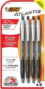 Bic Atlantis Ballpoint Pens Retractable Medium Point Black Ink 4 Pack