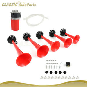 125db Dukes Of Hazzard Dixie Horn 5pcs Trumpets Musical Horn Compressor Kit Red