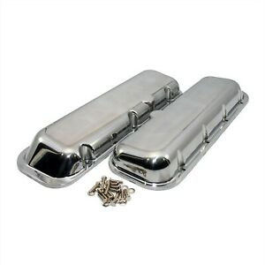 Polished Aluminum Valve Covers Short Bbc Chevy 396 454 No Breather Holes