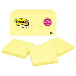 Post it Notes Value Pack Sticky Notes 100 Sheets pad 12 Pads 3 X 3 Yellow