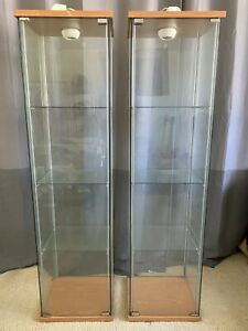 Two Glass Display Cases With Plug In Lights 3 Glass Shelves With Wood Top