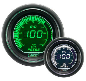 Digital Oil Pressure Gauge Prosport Evo Series Green And White 52mm