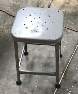 Vintage Square Metal Lab Industrial Factory Steampunk Retro Stool