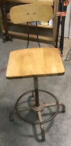 Vintage Ajusto Metal And Hardwood Drafting Stool Steam Punk Industrial
