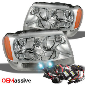 Fit 99 04 Jeep Grand Cherokee Replacement Headlights 8k Blue White Hid