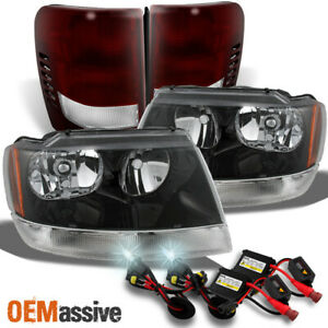 Fit 99 04 Jeep Grand Cherokee Black Headlights Red Tail Lights 6k Hid