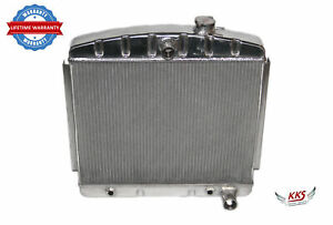 Kks Polished 3 Row Aluminum Radiator For 1955 1957 Chevy Bel Air V8 Core support