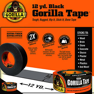 Black Gorilla Duct Tape Roll 1 88 X 12 Yd Tough Wide Waterproof Adhesive Cloth