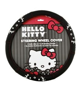 Sanrio Hello Kitty Brand Black Red White Dots Steering Wheel Cover 14 5 To 15 5