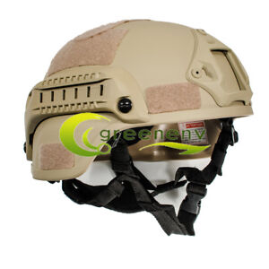 MICH 2000 Airsoft Tactical Hunting Combat Helmet w Side Rail Mount Army Sand $27.29