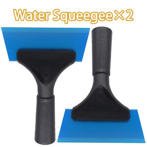 2pcs Window Tint Vinyl Handle Squeegee Water Blade Car Film Wrap Tool Kit Blue