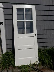 Exterior Antique Wood Door Approx 30 X 76 1 2 4 Panes Glass Can Ship