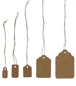100 Pcs Kraft Jewelry Paper Price Tags Khaki Tags With Strings Many Size