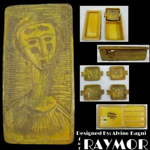 Mid Century Modern RAYMOR Cigarette Box w Ashtray Set by Alvino Bagni