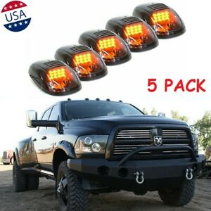 5 Pcs Smoked Amber 12 Led Cab Roof Top Marker Running Light For Truck Suv Dodge